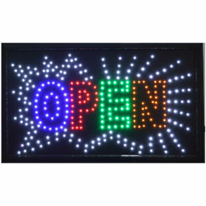 Large Animated Led Neon Retail Store Shop Open Sign W on off Switch 21 X13