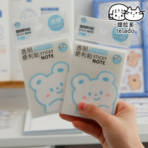 2 Packs Pet Transparent Sticky Notes Memo Pad Stickers Office School Supplies