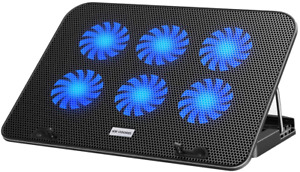 Laptop Cooling Pad Dual Usb Adjustable Stand Fans Blue Led For Game Pc Notebook