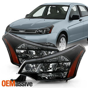 Fits 2008 2011 Ford Focus Oe Black Housing Headlights Replacement Left Right