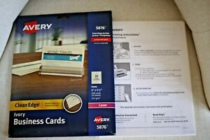 Avery 5876 Ivory Business Cards Smooth Edges 2 X 3 1 2 Laser 200 Cards