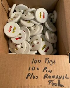 100 Security Ink Tags With Pins And Removal Tool pre Owned