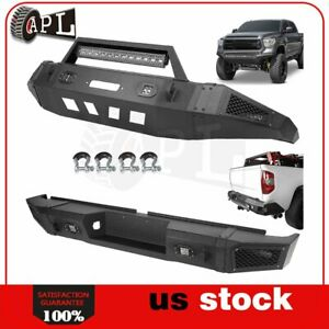 Front Rear Bumper Guard For 2007 2013 Toyota Tundra W Les D Lights D Rings Black