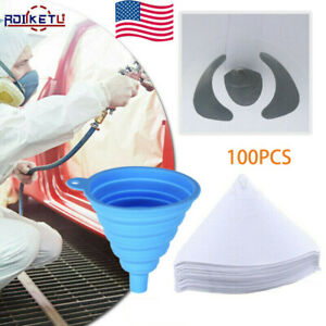 100x Fine Paint Paper Filter Strainers Mesh Nylon Cone Cup For Spray Gun Us New