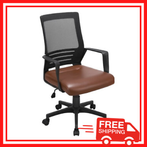 Leather Office Desk Chair Home Office Computer Mesh Chair Lumbar Support Brown