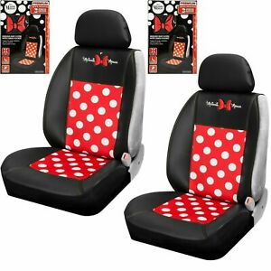 Disney Minnie Mouse Dot 2 Sideless Seat Cover W Cargo Pocket For Car Truck Suv