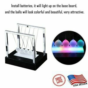 Us Newtons Led Light Up Ball Kinetic Energy Cradle Home Office Toys Decor Gift