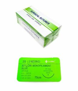 48 Pack 2 0 Surgical Sutures Nylon Monofilament Braided Sterile With Needle