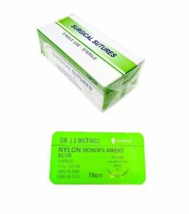 48 Pack 3 0 Surgical Sutures Nylon Monofilament Braided Sterile With Needle
