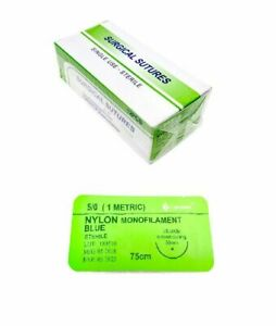 48 Pack 5 0 Surgical Sutures Nylon Monofilament Braided Sterile With Needle