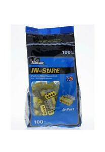 Ideal In sure Push in Wire Connectors 12 20 Gauge Yellow 4 Port 100pk
