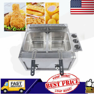 Gas Fryer Steam Food Warmer Steam Buffet Countertop Table 6l 2 Commercial