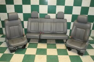 09 14 F 150 Ext Cab Gray Leather Power Man Bucket Seats Backseat Tracks Bags Oem
