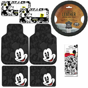 New 9pc Mickey Mouse Car Truck Front Rear Rubber Floor Mats Steering Wheel Cover