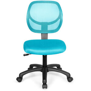 Office Chair Low Mesh Backrest Armless Desk Chair Adjustable Height Blue Color