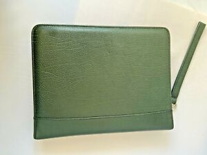Franklin Covey Planner Dark Green Leather Zip Wrist Strap Made In Usa Euc C1c