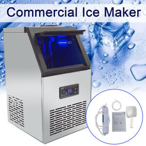 Stainless Steel Commercial Ice Maker Ice Machine 132lbs Portable Ice Cube Maker