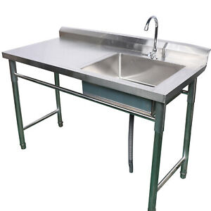 Stainless Steel Sink Catering Commercial Single Bowl Left Platform Drain Kitchen