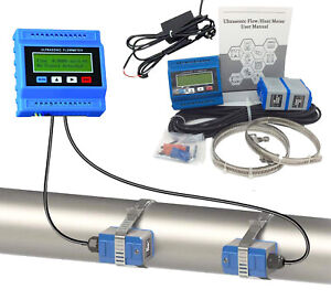 Ultrasonic Flow Meter With Power Adapter 0 59 3 93in Clamp On Sensor For Liquid