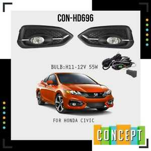 For 2014 2015 Honda Civic Coupe 2 Door Front Bumper Clear Fog Lights Lamps