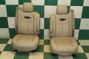 03 06 Avalanche Recovered Tan Leather Dual Power Bucket Seats Armrests Belts Oem