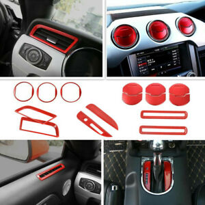For 2015 2021 Ford Mustang Interior Accessories Decor Trim Cover Red 15pcs Set