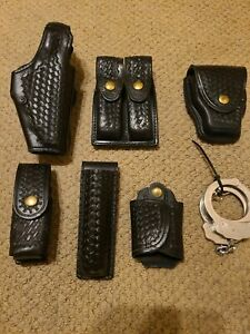 Safariland Police security Leather Duty Belt Accessories Basketweave