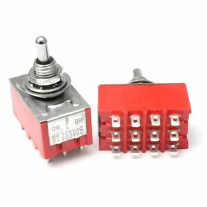 2pcs 2x 4pdt On off on mom 3 Position Mini Toggle Switch Mts 403 Red Us Seller