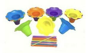 4oz Snow Cones Flower Cups With Spoon Straws assorted Colors 25ct Each
