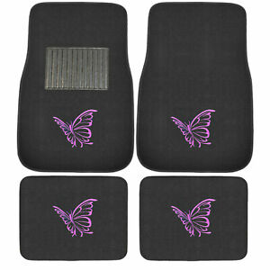 New Butterfly Purple Car Truck Suv Universal Fit Front Back Carpet Floor Mats