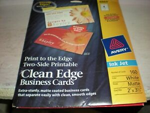 Avery Print To The Edge Two sided Business Cards 136 Count Inkjet Clean Edge