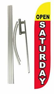 Lookourway Open Saturday Feather Flag Complete Set With Pole Ground Spike