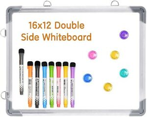 12 x16 Double sided Magnetic Dry Erase Drawing Writing Whiteboard 8 Markers