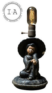 Antique Figural Lamp Of Woman With Umbrella