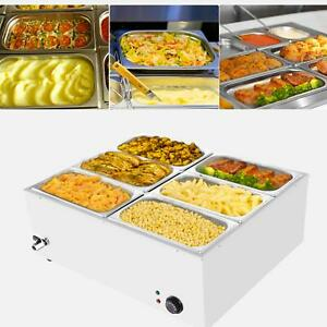 Commercial Food Warmer Bain Marie Steam Table Countertop 6 pan Station