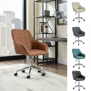 Swivel Home Office Chair Pu Leather Adjustable Mid Back Computer Task Desk Chair