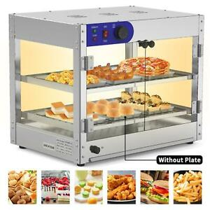 Commercial Food Warmer Court Heat Food Pizza Display Warmer Cabinet 2 tier Glass