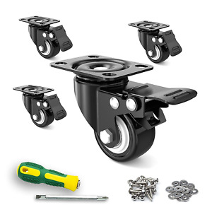 2 Caster Wheels Set Of 4 Heavy Duty Swivel Casters With Brake Safety Dual