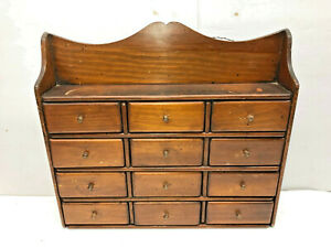 Antique 12 Drawer Wall Hanging Wooden Spice Box Cabinet With Top Shelf