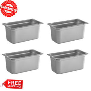 4 Pack 1 3 Size Stainless Steel Steam Prep Table Pan 12 3 4 X 7 X 6 Deep New