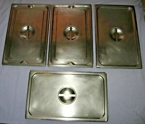 Lot 4 pc Steam Table Pan Lids Full Size Stainless Steel Restaurant Food Service