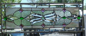 Stained Glass Transom Window Hanging 33 1 4 X 12 3 4 Incl Hooks