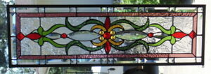 Stained Glass Transom Window Hanging 32 X 11 Incl Hooks Brass Frame Edging