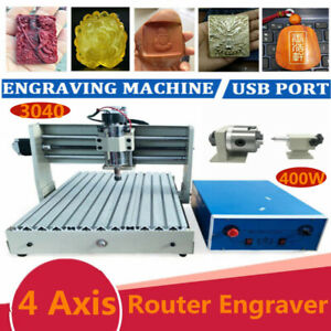 Usb 3040 Cnc Router Engraver4 Axis 1 5kw Vfd Metal Engraving Drill Mill Machine