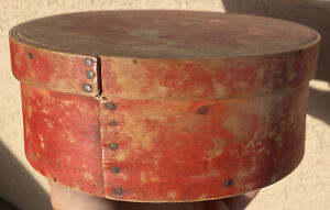 Early 1800 S Antique Exceptional Red Pantry Box 7 Original Red Paint Fantastic