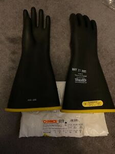 Lineman Insulated Rubber Gloves Chance Straight Cuff Class 2 16 Yel blk Size 9