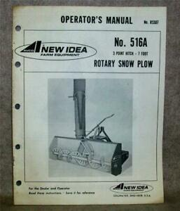 New Idea Avco 516a Rotary Snow Plow 7 Foot 3 Point Hitch Factory Manual 1974