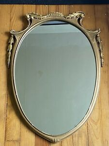 Vintage Large Ornate Gold Acorn Shapped Mirror 32 X 22 5 In Mcm