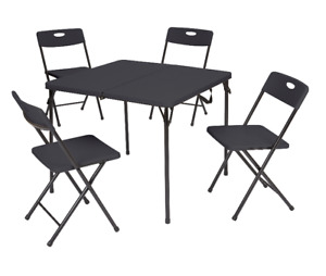 Mainstays 5 Piece Resin Plastic Card Table And Four Chairs Set Black