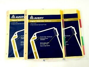 Lot Of 3 Nos Avery Aigner Gold Line Indexes Dividers 5 Colored Tabs 11x 8 1 2